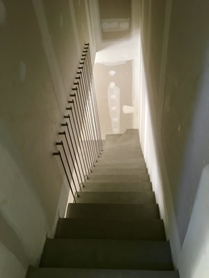 escalier avec garde corps harpe