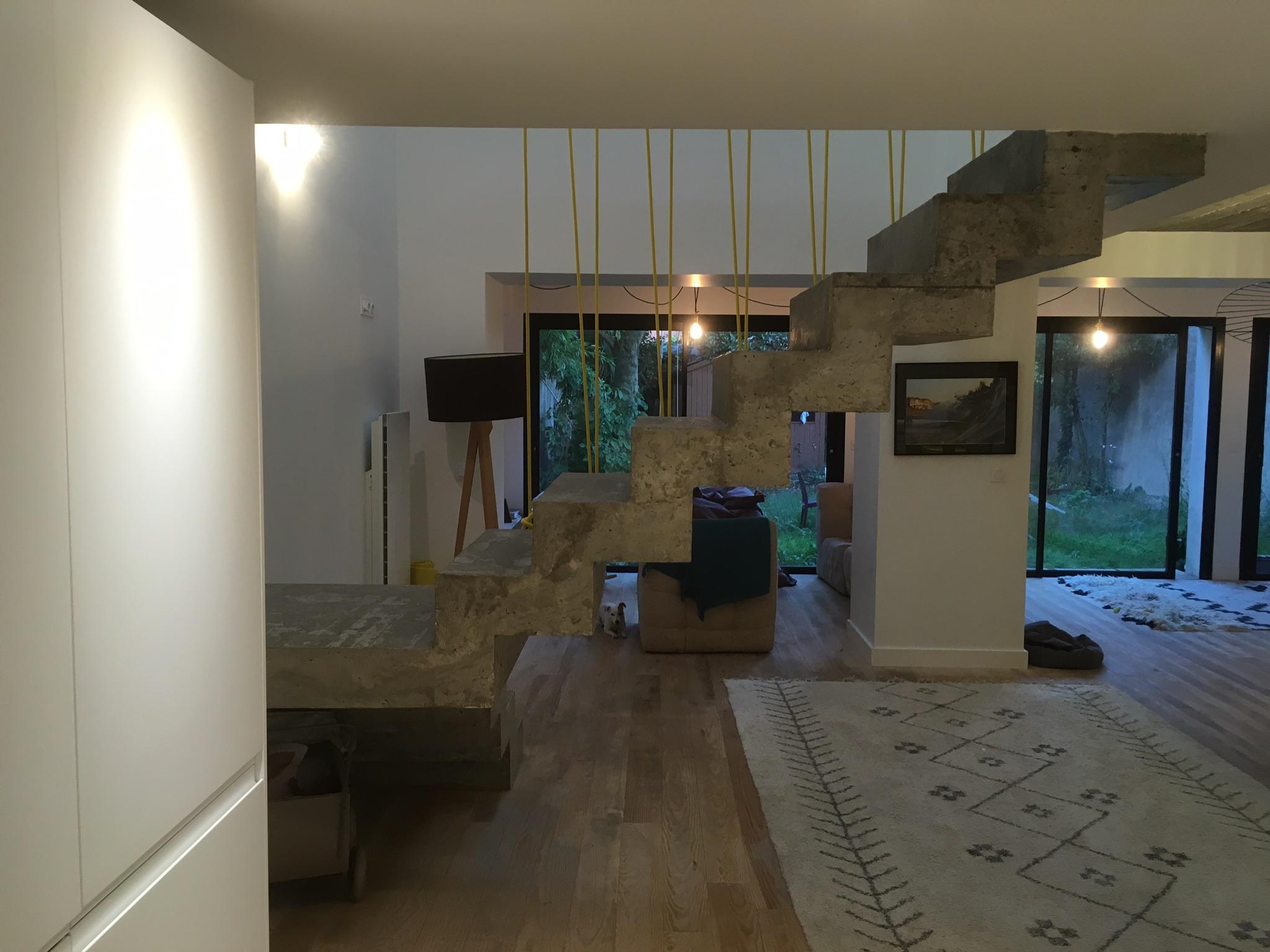 audacieux  escalier crémaillère avec palier intermédiaire en rénovation  a bègles  pour un particulier