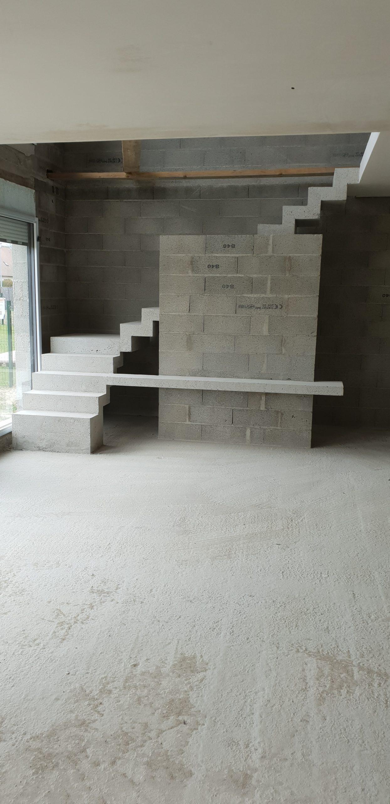 Escalier béton crémaillère