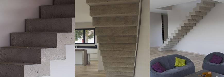 Escalier en béton volée droite à crémaillère  dans le département du Rhône