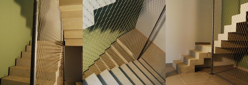 Deux escaliers crémaillère avec paliers intermédiaires