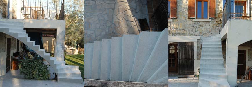 Escalier béton 2/4 tournant en extérieur