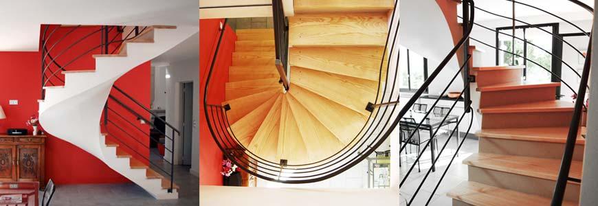 Escalier hélicoïdal en béton ciré et bois