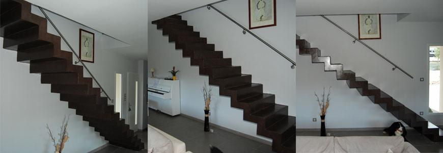 Escalier crémaillère droit en béton ciré