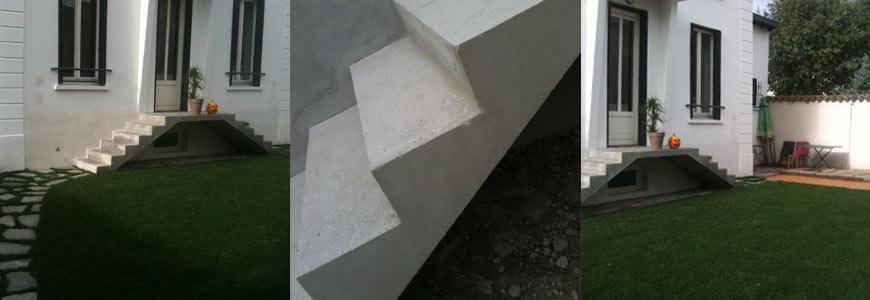 Rénovation d'escalier droit en extérieur