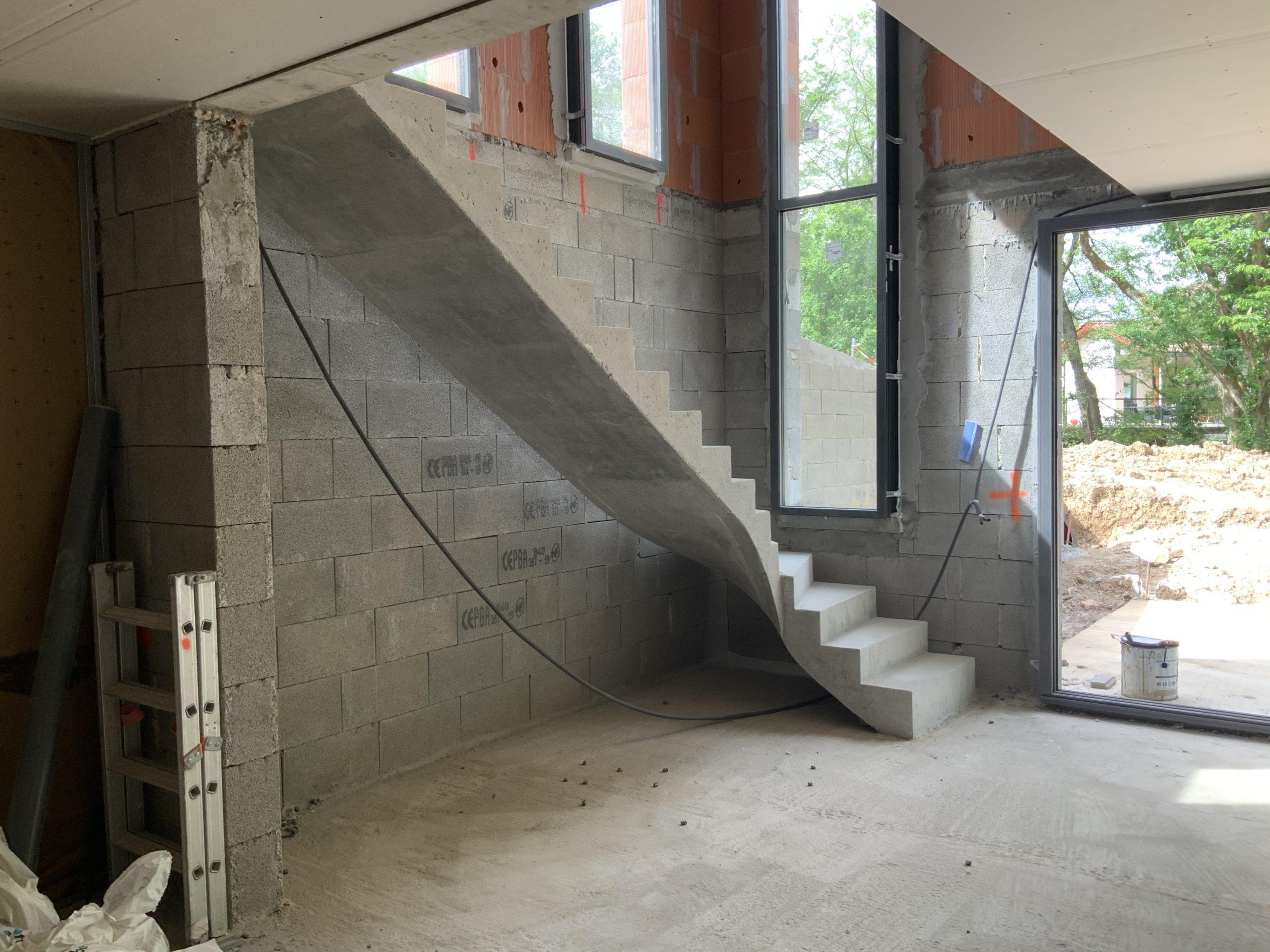 Réalisation d'un escalier béton intérieur
