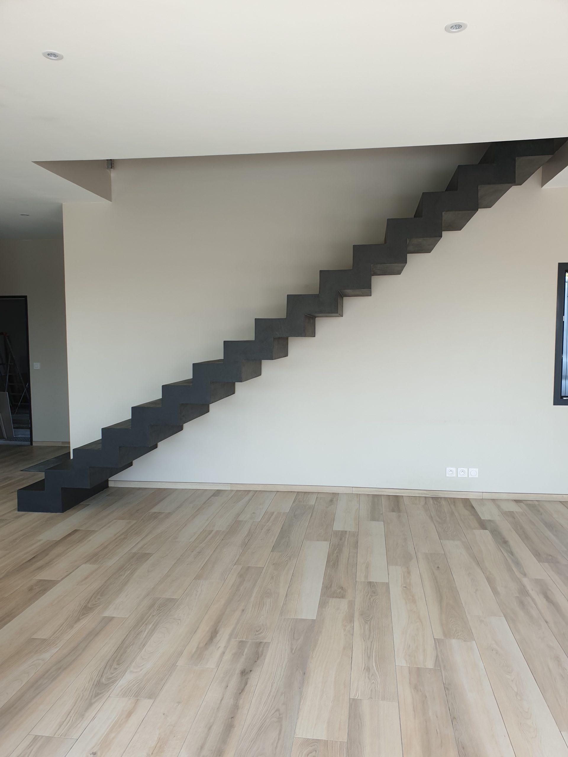 Salon d'une maison individuelle avec comme décoration principale un escalier en béton ciré